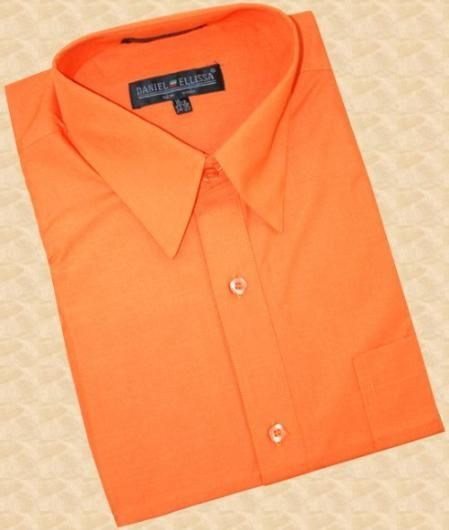 SKU#SK444 Orange Cotton Blend Dress Shirt With Convertible Cuffs $39 | MensITALY  Price: US $39
