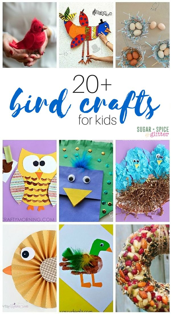 A fun collection of 20+ bird crafts for kids - including some bird process art activities.