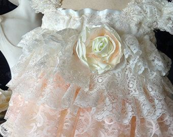 Flower Girl dress, Vintage lace custom destination wedding, Birthday Special occasion dress by Rosanna Hope for Babybonbons Made in USA