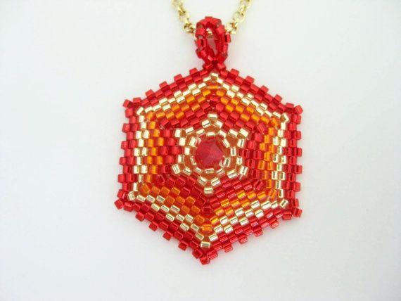 Beaded Pendant / Peyote Hexagon Pendant / Star by MadeByKatarina