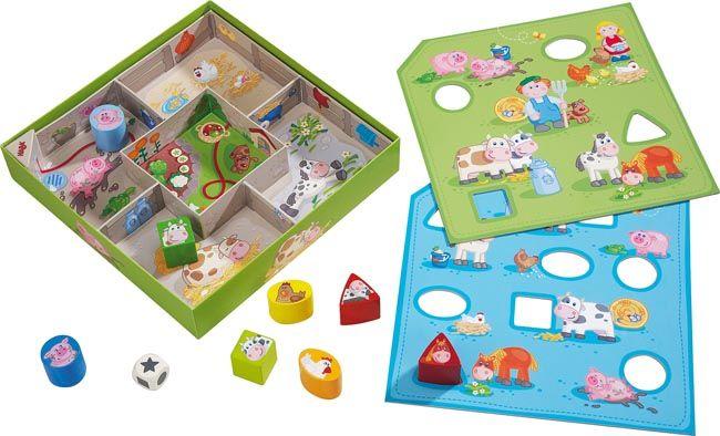 Haba sorteringsspel Bondgård. Vilket djur hör till vilket stall? Sorteringsspel med olika boxar för djuren, där det gäller att placera dem på rätt ställe.