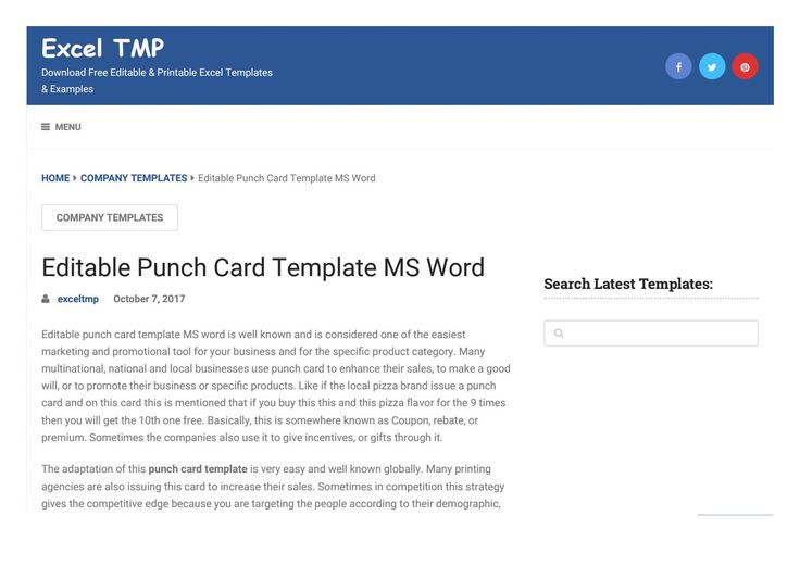 Punch Card Templateexcel Tmp Issuu Throughout Product Line Card Template Word Sample Professional Tem Punch Cards Birthday Card Template Free Card Template