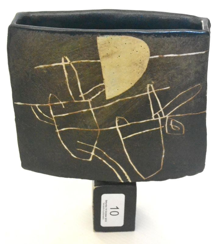 John Maltby (b.1936): A Stoneware Spade Form Vase, of flattened form with square foot, painted MA