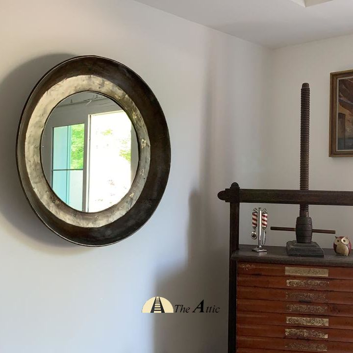 A Large Vintage Copper Plate Parat Upcycled Into This Rustic Earthy Wall Mirror Old Metal Utensil Furnitur Furniture Home Furniture Dining Table Online