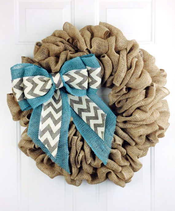 Burlap Wreath Chevron Burlap Wreath All Year Wreath Everyday