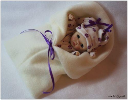 Ooak original hand sculpted mini polymer clay baby art doll girl mini