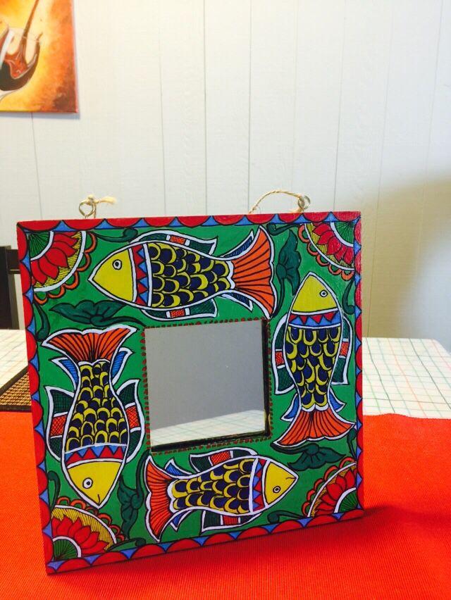 Madhubani handpainted decorative mirror