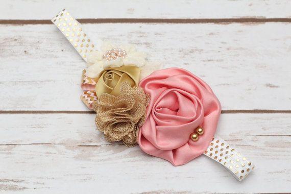 Pink and gold headband Birthday Necklace headband and