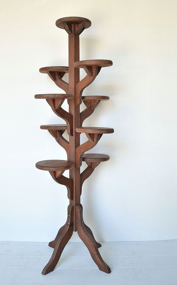 Vintage tall handmade wooden tiered plant stand by How to build a tiered plant stand
