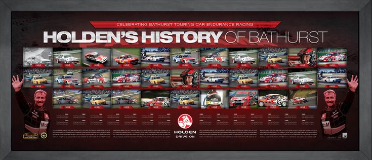 This magnificent framed piece celebrates every Holden Bathurst victory., It is strictly limited to 1000 units only and is accompanied with a certificate of authenticity. It is endorsed by the V8 Supercars. Approx framed size 1400mm x 600mm Image is conceptual at this stage and will be updated with the winner if a holden.