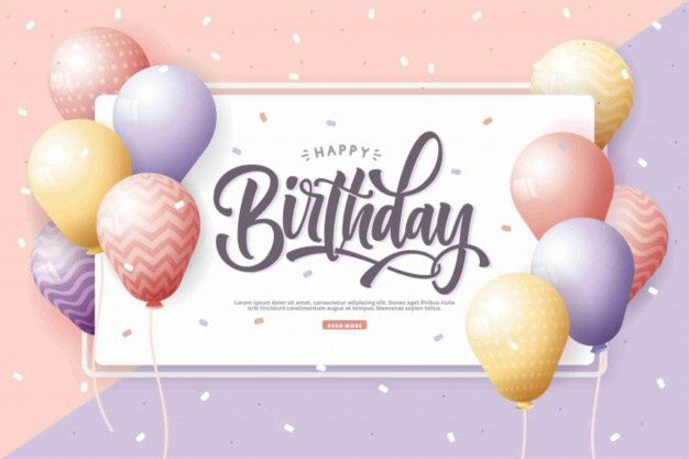 Happy Birthday With Realistic Balloons Background Happy Birthday Template Happy Birthday Card Design Birthday Wishes