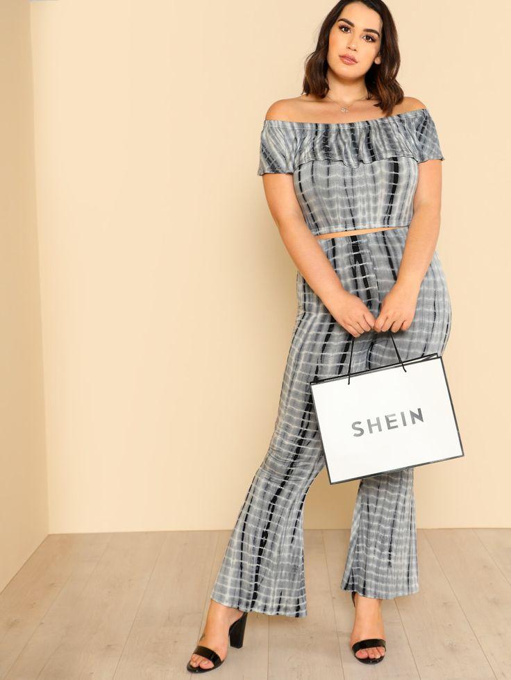 Shop Tie Dye Flounce Bardot Top & Pants Set online. SheIn offers Tie Dye Flounce Bardot Top & Pants Set & more to fit your fashionable needs.