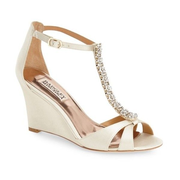 "Badgley Mischka 'Romance' Wedge Sandal, 3 1/4"" heel (955 MYR) ❤ liked on Polyvore featuring shoes, sandals, ivory, badgley mischka shoes, wedge sandals, sparkly sandals, t strap high heel sandals and ankle wrap wedge sandals"