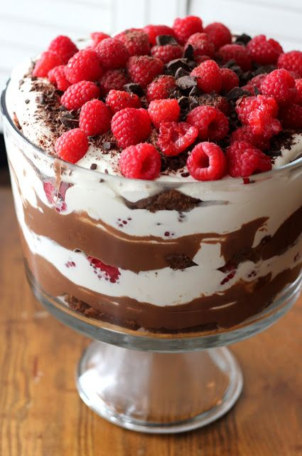 Triple Chocolate Trifle with Raspberries - A Hint of Honey
