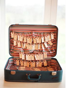 i think this escort card display could be cuter but i like the suitcase idea