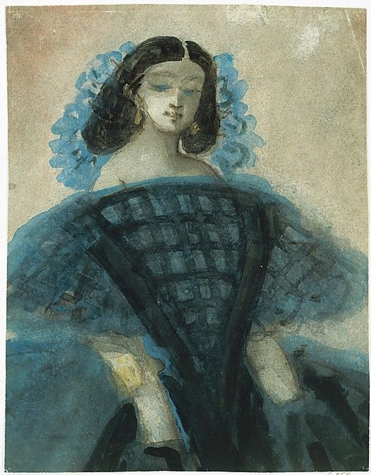 Constantin Guys (1802-1892) – Young Woman in a Blue and Black Dress (ca 1863) Pen and brown ink with watercolor wash, Metropolitan Museum of Art, New York