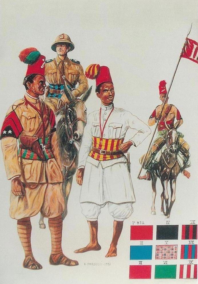 """R.C.T.C. DELL'ERITREA:  BULUK.BASCI DEL XX BATTAGLIONE ERITREO-MISTO cui appartenne come ufficiale subalterno il giornalista Indro Montanelli durante la Campagna Italo-Etiopica  1935-36. il Battaglione aveva operato a lungo in Libia dal 1924 al 1930.  TENENTE dell'XI BATTAGLIONE ERITREO (1935-36)-  ASCARI del XIII BATTAGLIONE ERITREO-MISTO """"ROMA"""" (Libia 1914)-  SCIUMBASCI del III BATTAGLIONE ERITREO """"GALLIANO"""" (1935-36)-  FASCE DISTINTIVO di alcuni  BATTAGLIONI ERITREI  -"""