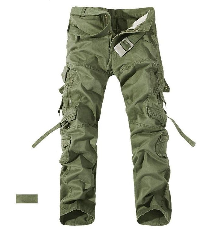 Top Fashion Multi-Pocket Solid Men's Cargo Pants High Quality Men Trousers