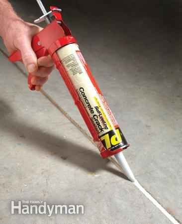 Use concrete crack filler to keep unwanted weeds from sprouting up.