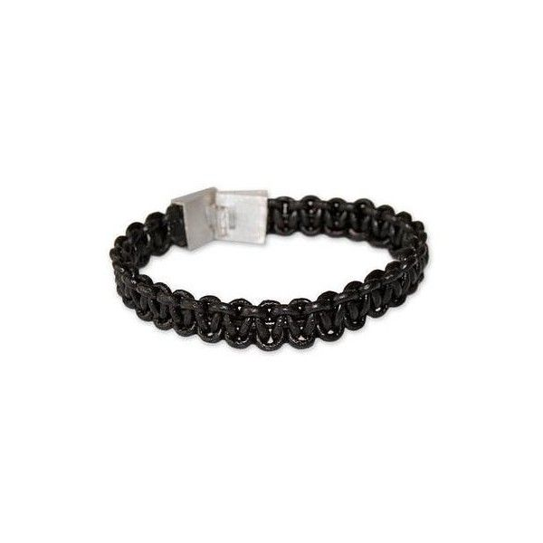 NOVICA Men's leather braided bracelet (€52) ❤ liked on Polyvore featuring men's fashion, men's jewelry, men's bracelets, black, bracelets, braided, clothing & accessories, jewelry, mens leather braided bracelets and mens woven leather bracelets