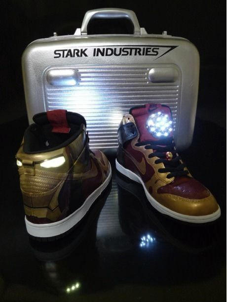 Who needs reflectors on their shoes at night? Not the guy with these #IronMan shoes!