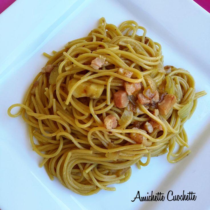 Spaghetti risottati allo zafferano e pancetta