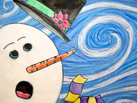 Van Gogh snowman - Arts Everyday. Can be a little more advanced for high school students. They can research a famous painting and replicate it depending on the lesson being taught.