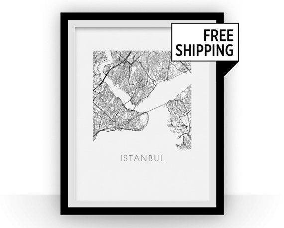 Our Istanbul map print features the stunning geography and street patterns of this great city.  This complex and precise map print will fit stylish decor for both home and office.  The Istanbul map is printed in dark black ink on 8x10 thick 96 lb Canson Bristol bright white paper.  Every print is signed at the front.  The data used to create this map comes from OpenStreetMap and is under Creative Commons 2.0 license.  Price showed is for a 8 in x 10 in print. Convo us for a quote on…
