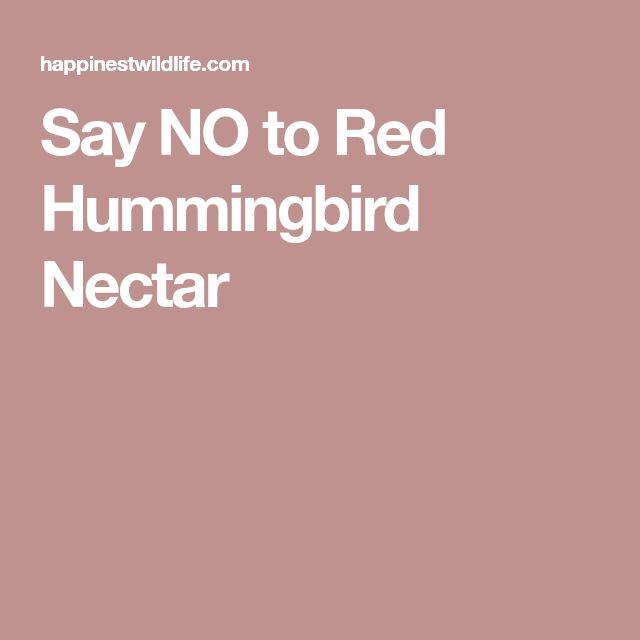 Say NO to Red Hummingbird Nectar