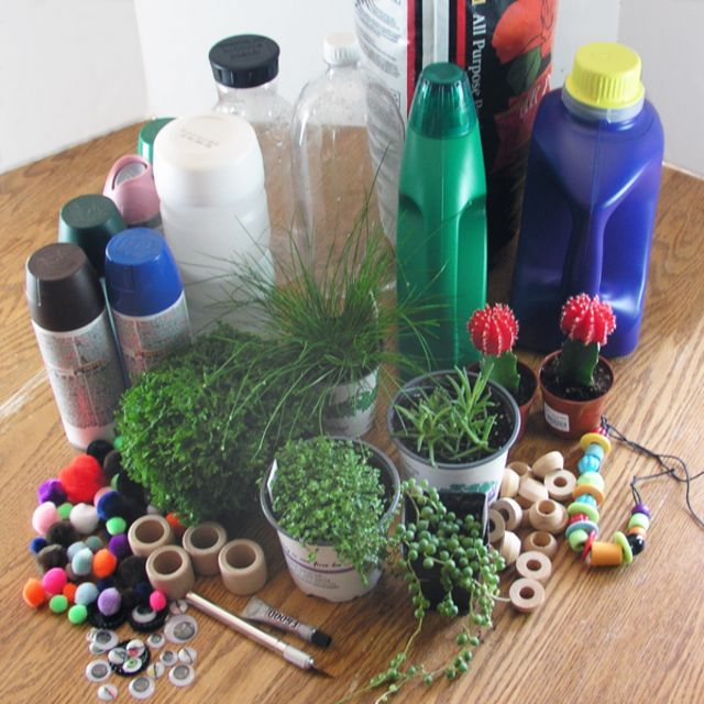Things You'll Need, Old Bottles, New Buddies: Cute Upcycled Planters for Kids
