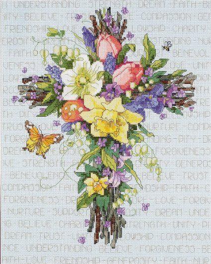 Janlynn Cross Stitch Kit, 14-Inch by 11-Inch, Spring Floral Cross