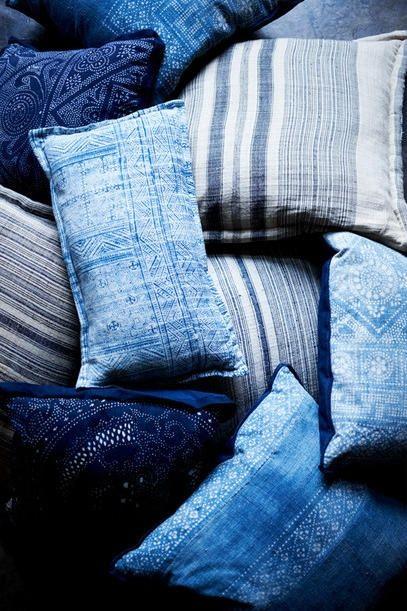.: Interior, Inspiration, Blue, Color, Blue Pillows, Indigo Pillows, Indigo Blue, Textile