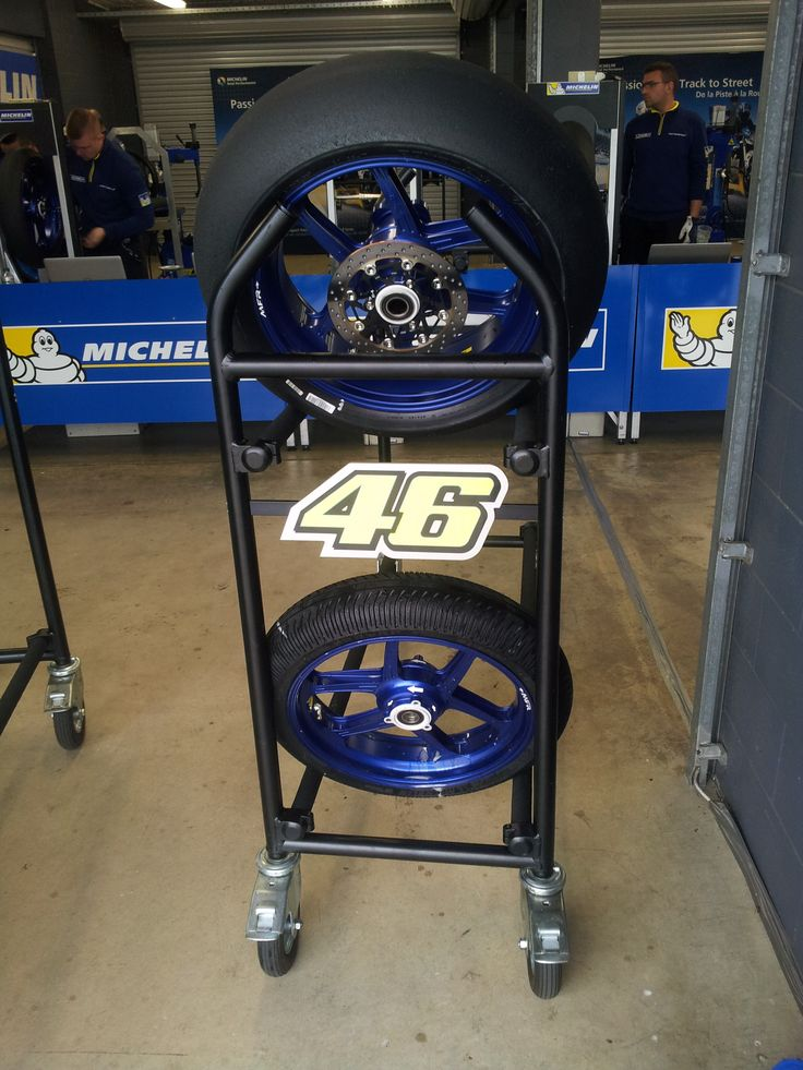 Phillip Island Grand Prix Circuit Valentino Rossi tyre stand in Michelin workshop. 2016 Preseason testing.