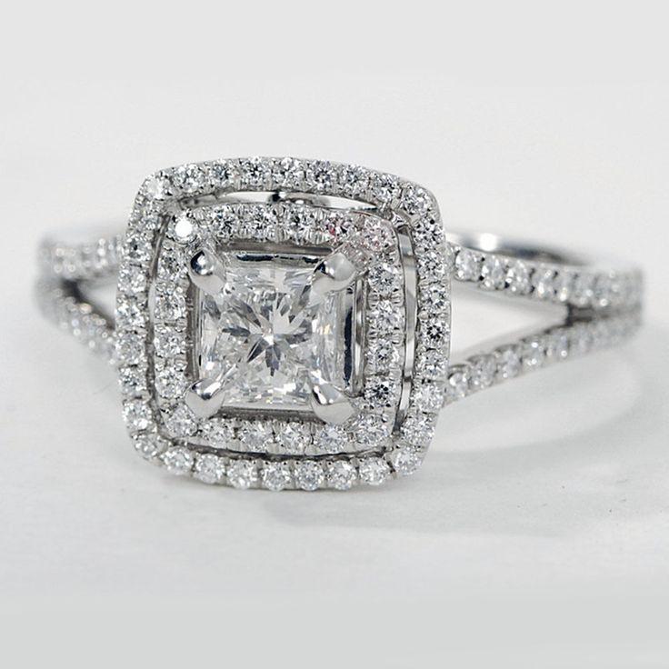 GIA Princess Cut Double Halo Diamond Engagement Ring 1.50 Carat D-E SI1 14K Gold #TheDiamondSpecialist #DoubleHaloSplitShank