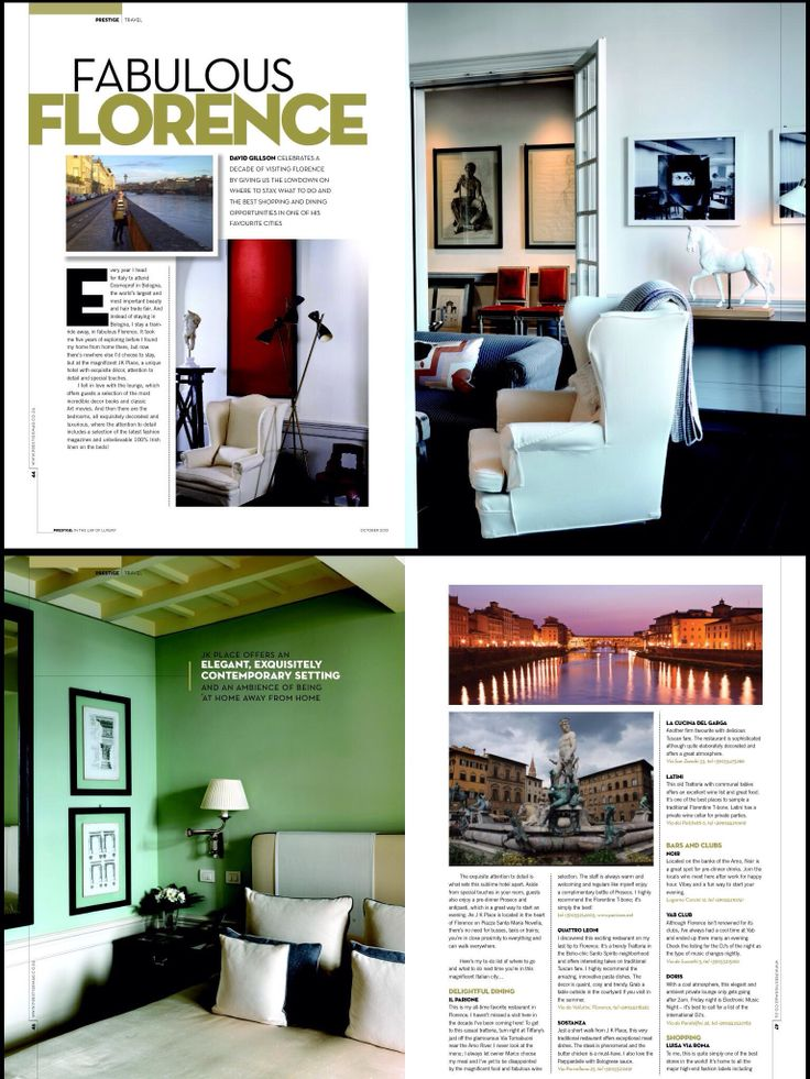 My big 6 page story on Florence Italy in Prestige.