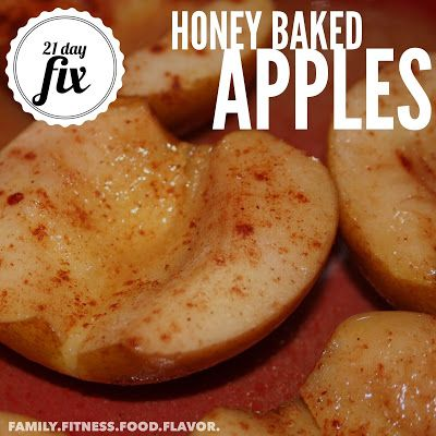 Healthy Dessert!  Honey Baked Apples -- 21 Day Fix....(21 Day Fixers:  This recipe makes 2 servings.  Each serving = 1/2 a purple and 1 tsp.)