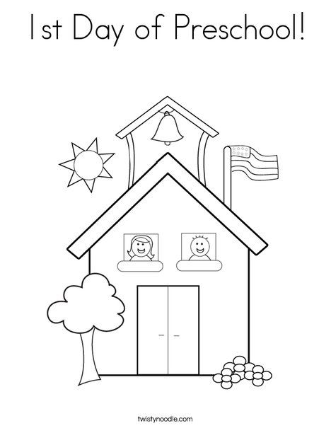 1st day of preschool coloring page from twistynoodlecom - Coloring Kindergarten
