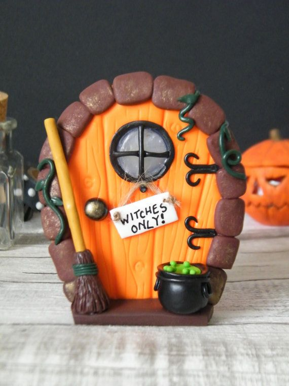 Halloween Fairy Door Polymer Clay Halloween by MadebyIzzyGifts