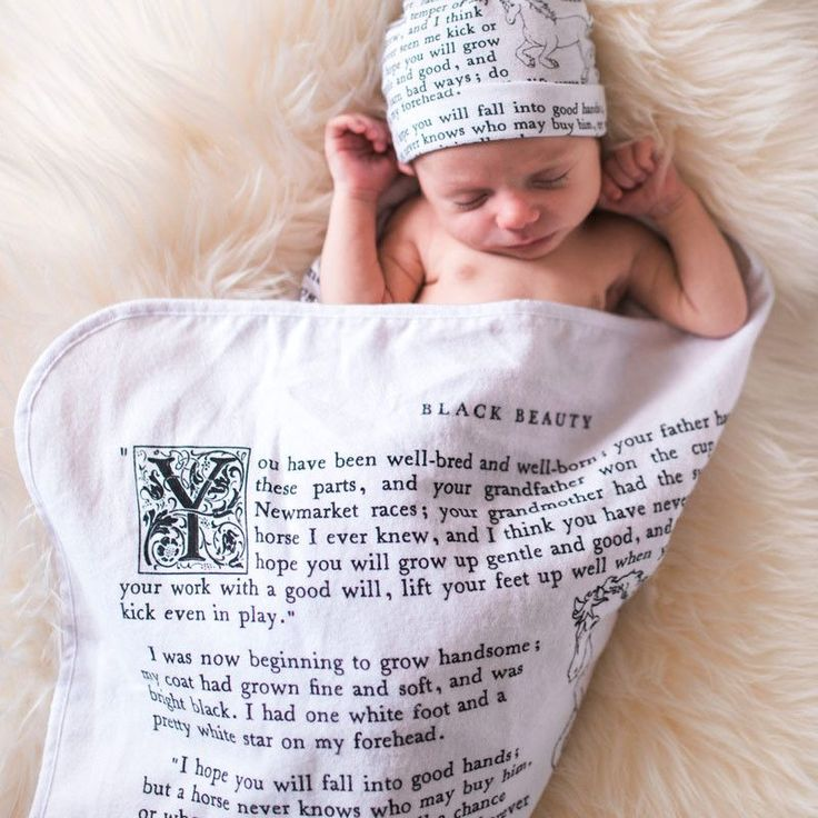 Wrap up your little one in our ultra-soft Storybook Baby Blankets and help your mini grow up to be as literate as you!  Our literary baby blankets are made from the coziest, 100% cotton flannel sourced in the U.S.A. and feature text straight from classic children's books. We screen-print and finish each one by hand to ensure the highest quality. Reading never felt so good!  Current titles include Black Beauty, Peter Pan, and The Velveteen Rabbit. Perfect baby shower gift!