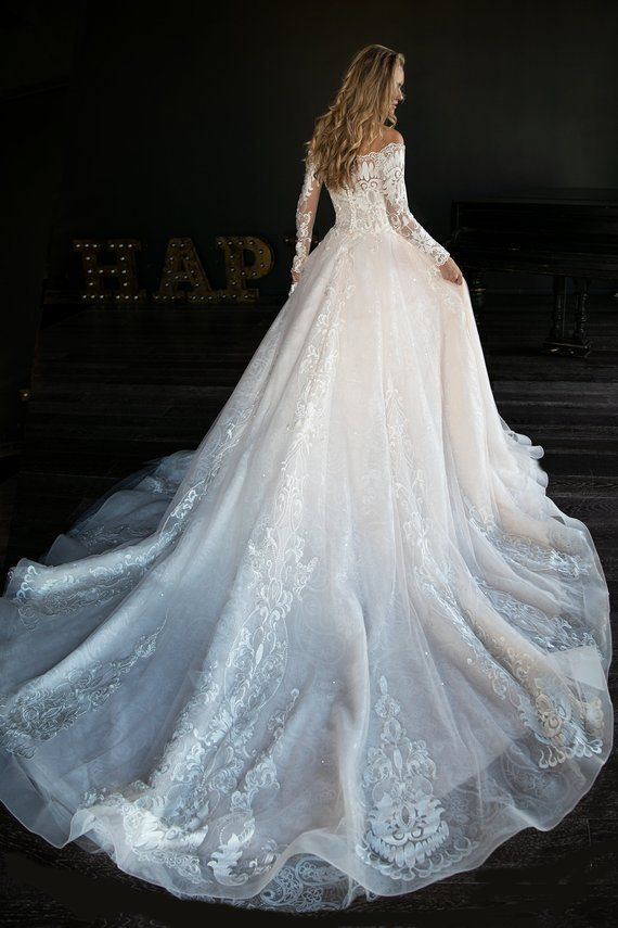 8182de0783616 A line wedding dress Jislin by Olivia Bottega. Lace wedding dress. Long  sleeve wedding dress. Mod we