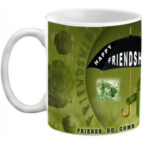 COFFEE MUG - FRIENDSHIP - FRIENDS DO COME UNDER MY UMBRELLA QUOTES PRINTED WHITE