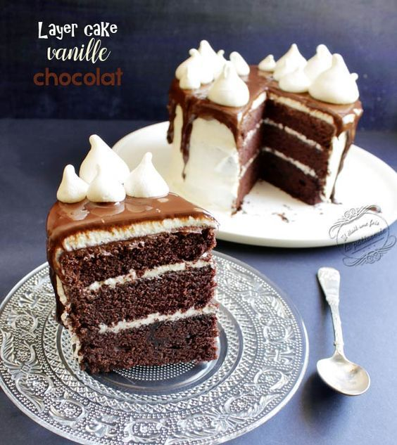 Layer cake vanille chocolat #patisserie #gateau