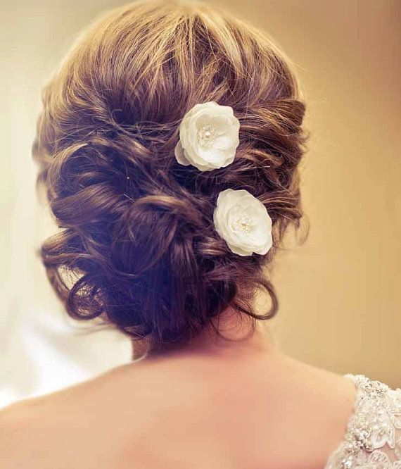 Bridal Mini Ivory Hair Flower with pearls and crystals