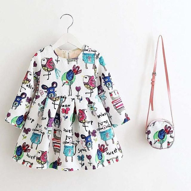 Long Sleeve Summer Kids Dress With Bag