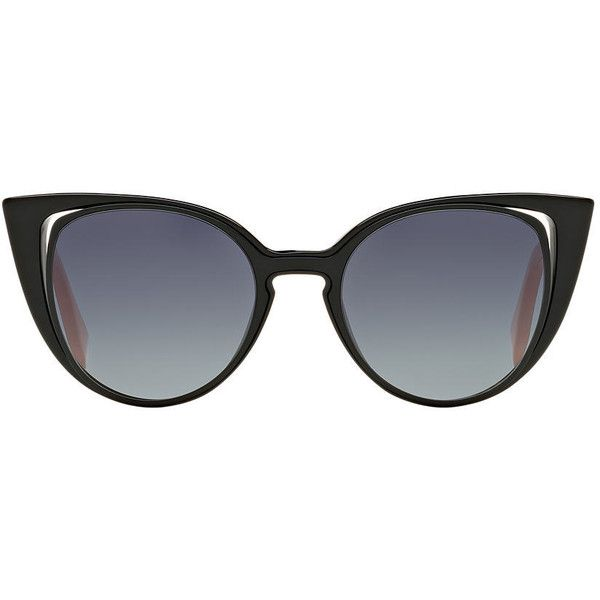 Fendi Ff 0136/s 51 Black Cat Sunglasses (£320) ❤ liked on Polyvore featuring accessories, eyewear, sunglasses, fendi glasses, fendi sunglasses, fendi and fendi eyewear