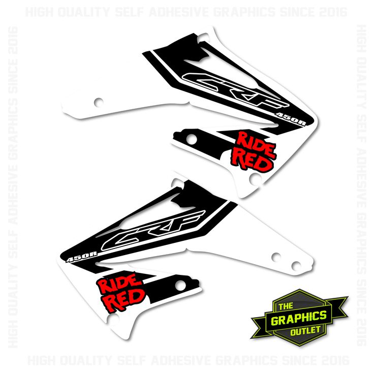 HONDA CRF450 2002-04 - RIDE RED STYLE REPLICA - RADIATOR SHROUD MOTOCROSS GRAPHICS - WHITE & BLACK