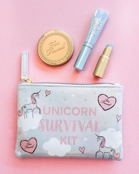 Too faced holiday 2017 sneak peek. unicorn survival kit. limited edition color shifting highlighter