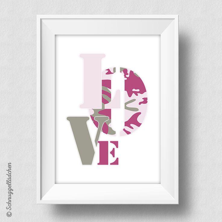 Camouflage Love - Kunstdruck von Schnuggellaedchen, Typografie, Typography, Typo Print, Art Print, Druck, Dekoration, homestyle, Acceessoires, Designstück, Wandbild, rosa, pink, oliv, kaki, Love, Liebe, Camouflage