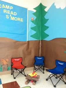 "This link has five images of decorating ideas for the theme ""Welcome to Camp Read S'more!""  I especially like the faux fire (how cozy for cuddling up for reading!) and literacy lake.  You could even have a word wall in the ""literacy lake"" to help expand middle school students' vocabulary!  These images are from Benoist Farms Media Center Blog.  Check them out!"
