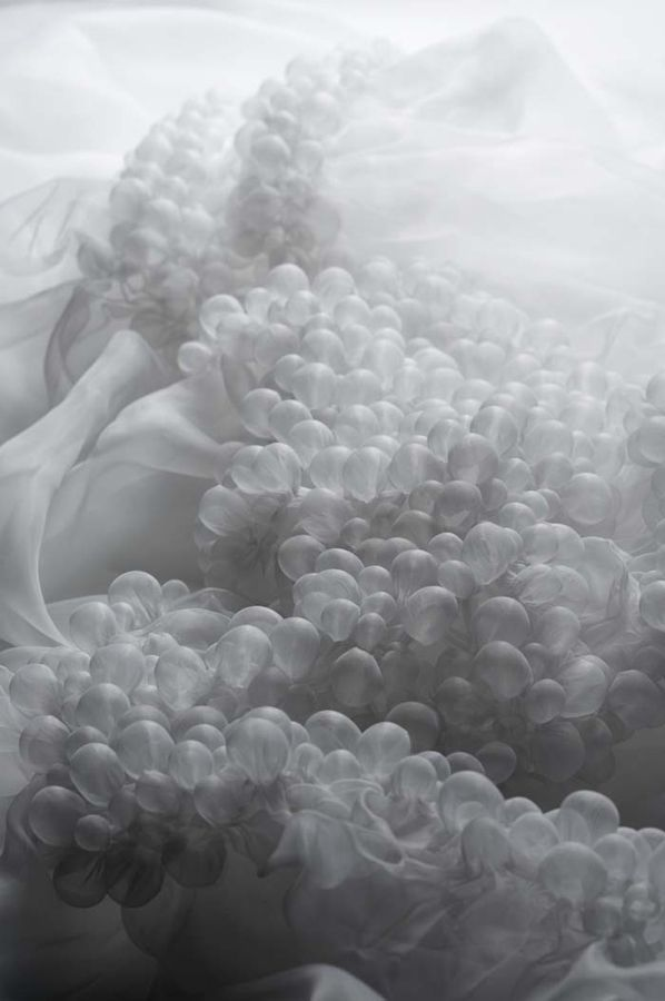 Innovative heat-treated shibori textile design with delicate organic-inspired 3D bubbles; fabric manipulation // Grethe Wittrock